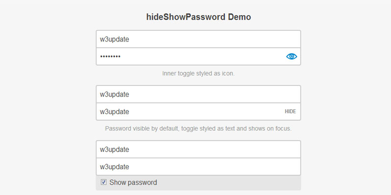 Jquery plugin to show or hide password