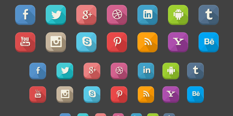 Download free 43 extended shadow social icons for free