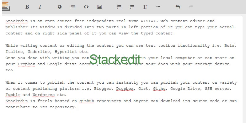 Stackedit is a free content editing and publishing web app