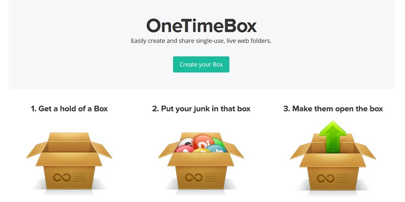 OneTimeBox: To create self-disposable public storage box to upload, share and delete files