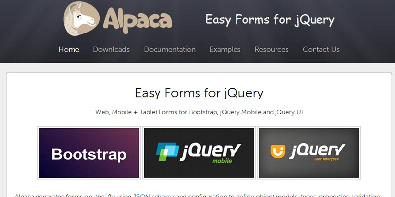 Alpacs: A jquery plugin to build easy forms using JSON Schema