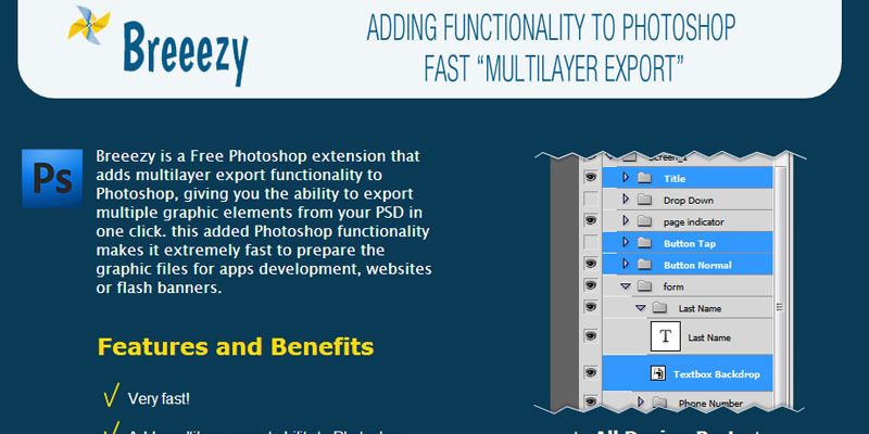 Breezy: Free Photoshop plugin to export multiple layers