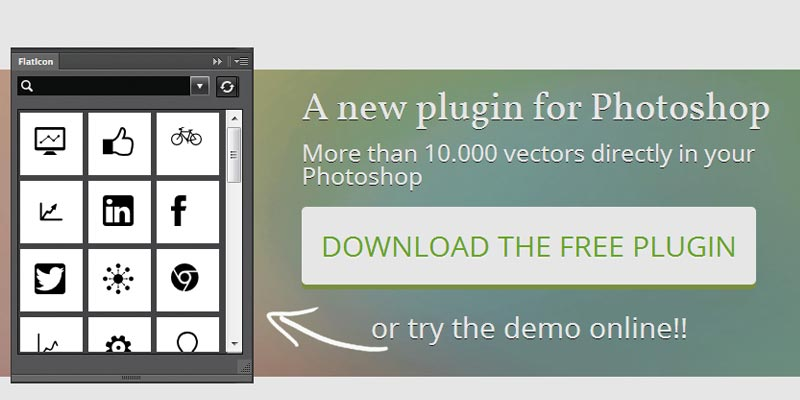 Free Photoshop plugin to get thousands of Flat icons from Flaticon.com