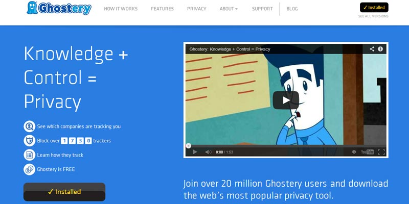 Ghostery: A free browser extension and app for controlled privacy