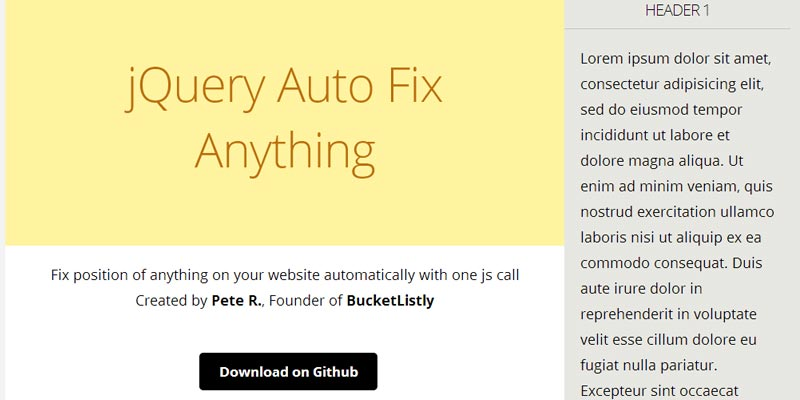 Fix anything within a container with Jquery Auto Fix Anything