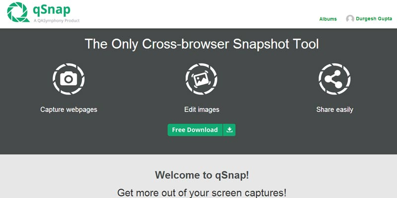 qSnap: An awesome browser extension to capture web page screenshot