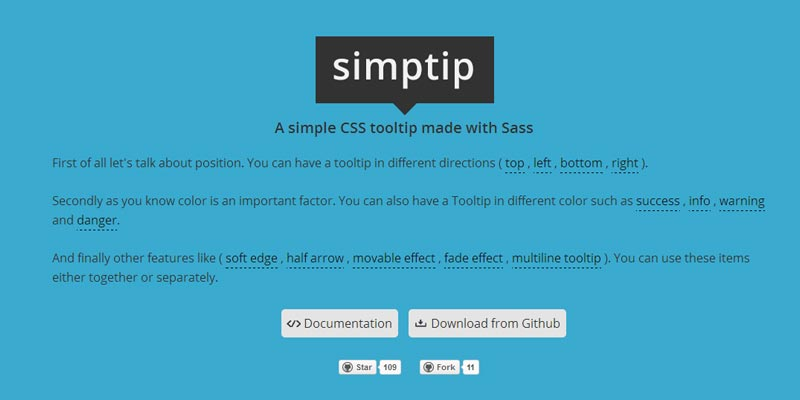 Simptip: A simple tooltip solution created with Sass