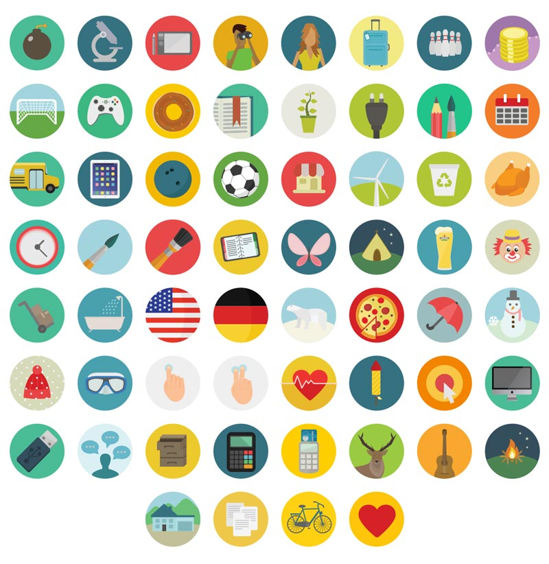 Download free pixel-perfect 60 round icons