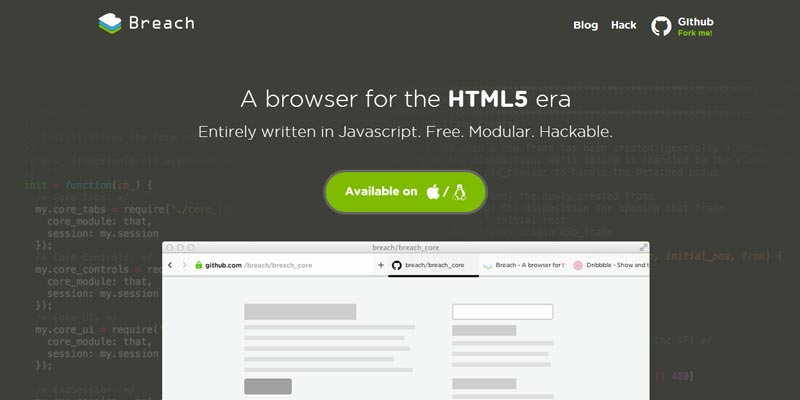 Breach Browser: An Open Source for HTML5 web pages