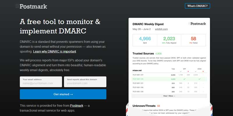 A free tool to offer weekly DMARC report on your domain