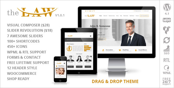 Themeforest: The Law - Lawyer Legal Attorney Responsive WP Theme Review