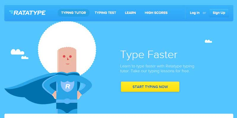Learn online typing fast with Ratatype tutor